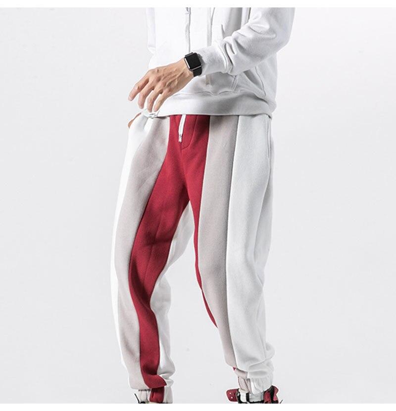 Aolamegs Men Casual Track Pants Splice Contrast Pants Men Letter Print Elastic Waist Sweatpants Men High Street Pants Streetwear (17)