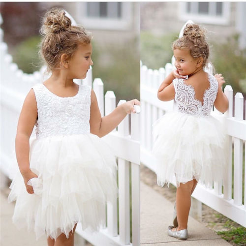 81e91183c Newborn Toddler Kids Princess Baby Flower Girl Dress Lace Backless ...