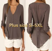 Plus size S-5XL New Fashion Casual Sexy Deep V Neck Button Slim Waist Long Sleeves Chiffon Blouse Shirt Top(China)