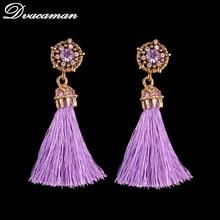 Dvacaman New Vintage Long Tassel Earrings for Women Fashion Ring Square Earring Luxury Big Chain Earrings fringe Jewelry