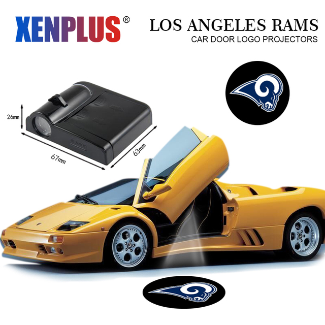 2pc Car Door Welcome Lights For Los Angeles Rams Led Projector Logo
