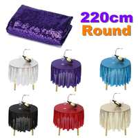 7 Colors 87 Round Sparkle Sequin Tablecloth Cover Wedding Banquet Party Decoration Glitter Table Runner Home Textiles 220cm