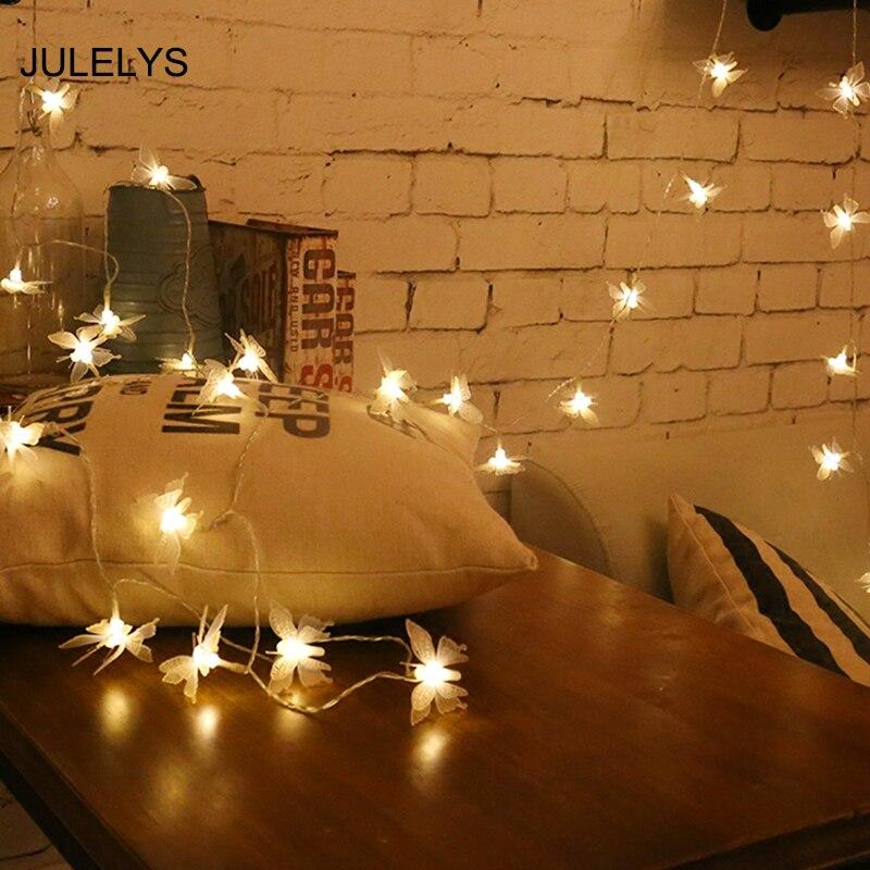 JULELYS Schmetterling Lichterkette Garland Batterie LED String Licht  Gerlyanda Weihnachtsbeleuchtung Dekorationen Für Hochzeit Schlafzimmer