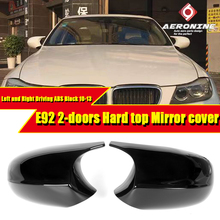 E92 LCI 2DR Hard top Side Mirror Cover Cap Add on style For BMW 3 Series Sedan ABS Gloss Black 1:1 Replacement M3 Look 2Pc 10-13