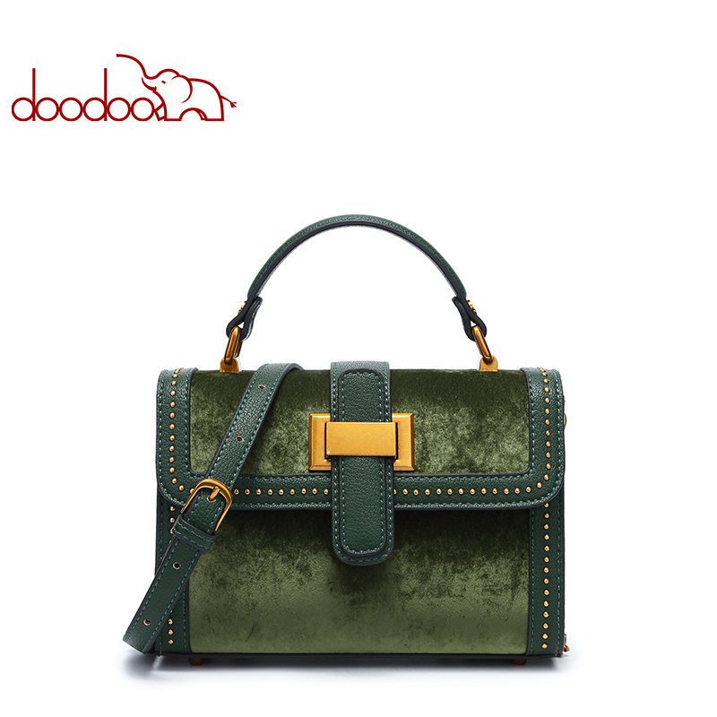 DOODOO Women Fashion Brand PU Leather Shoulder Bag Girl Crossbody Bags Lady Rivet chain Messenger Bags Female Suede Handbag women handbag shoulder bag messenger bag casual colorful canvas crossbody bags for girl student waterproof nylon laptop tote