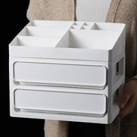 DIY Multi layer Plastic Container Box Makeup Drawers Cosmetic Storage Box Jewelry Make up Organizer Case Office Boxes White