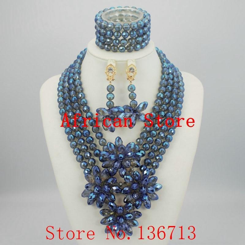 2016 New Purple Nigerian African Wedding Beads Jewelry Set Plastic ...