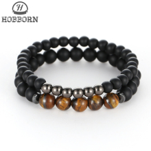 HOBBORN Trendy Couple Beads Women Men Bracelet Matte Black Onyx Tiger Eye Mix Strand Elasticity Meditation Yoga Pulsera
