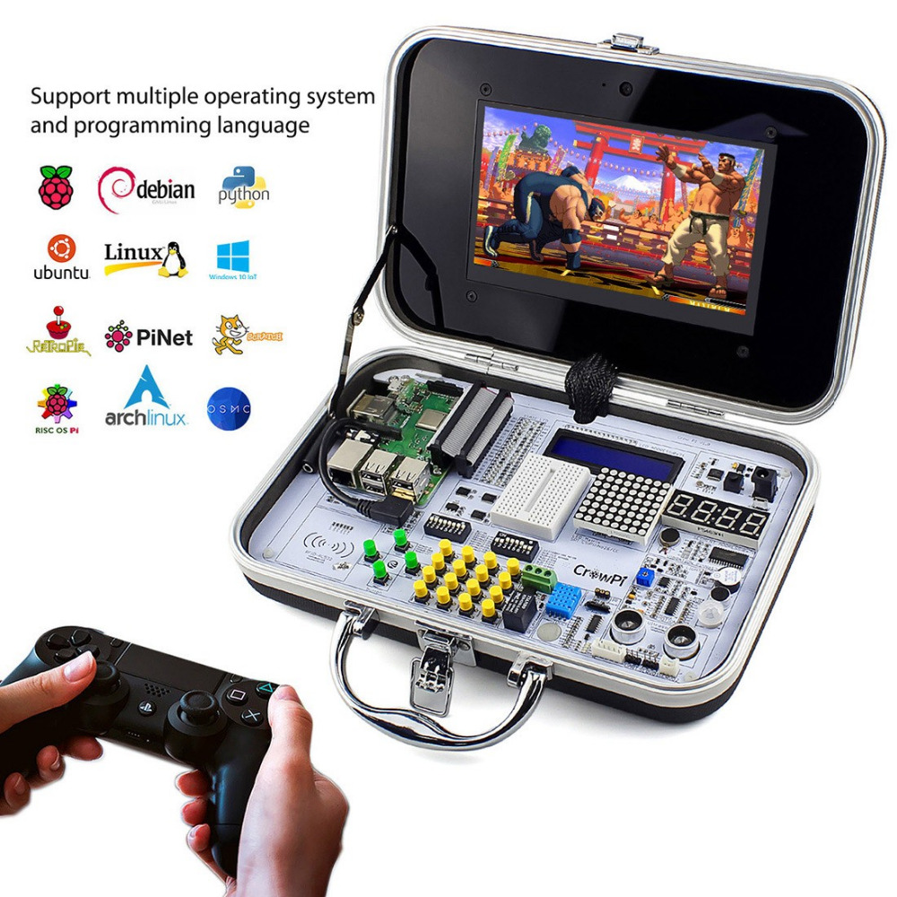 Elecrow Crowpi ALL IN ONE Design 7 inch HD Touch Screen Compact Raspberry Pi Educational Learning Kit DIY Computer Starter Kits