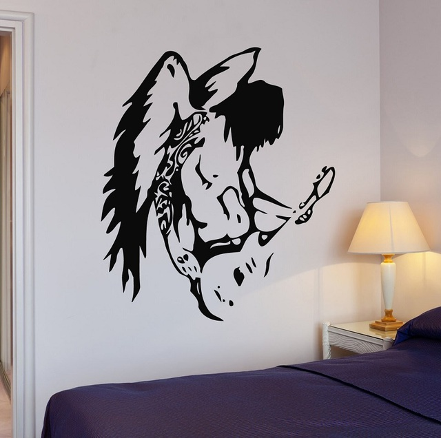 Vinyl Applique Pop Rock Star Music Guitar Wings Wall Sticker Poster Home Bedroom Art Design Decoration 2YY39