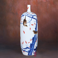 Xiaoling painted blue and white porcelain flower vase flower autumn fashion Home Furnishing living room decoration