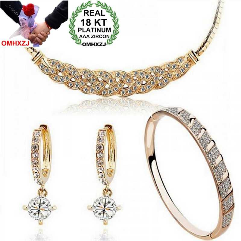 OMHXZJ AAA Zircon Crystal Silver Gold 18KT Platinum Woman Charm Bride Folk-Custom Necklace Earrings Bracelets Jewelry Sets ST139
