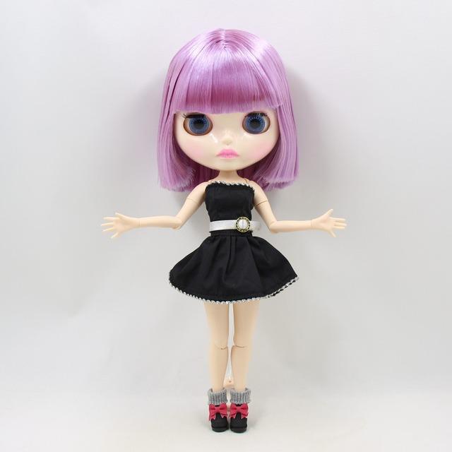 TBL Neo Blythe Doll kratka ljubičasta kosa spojena tijela