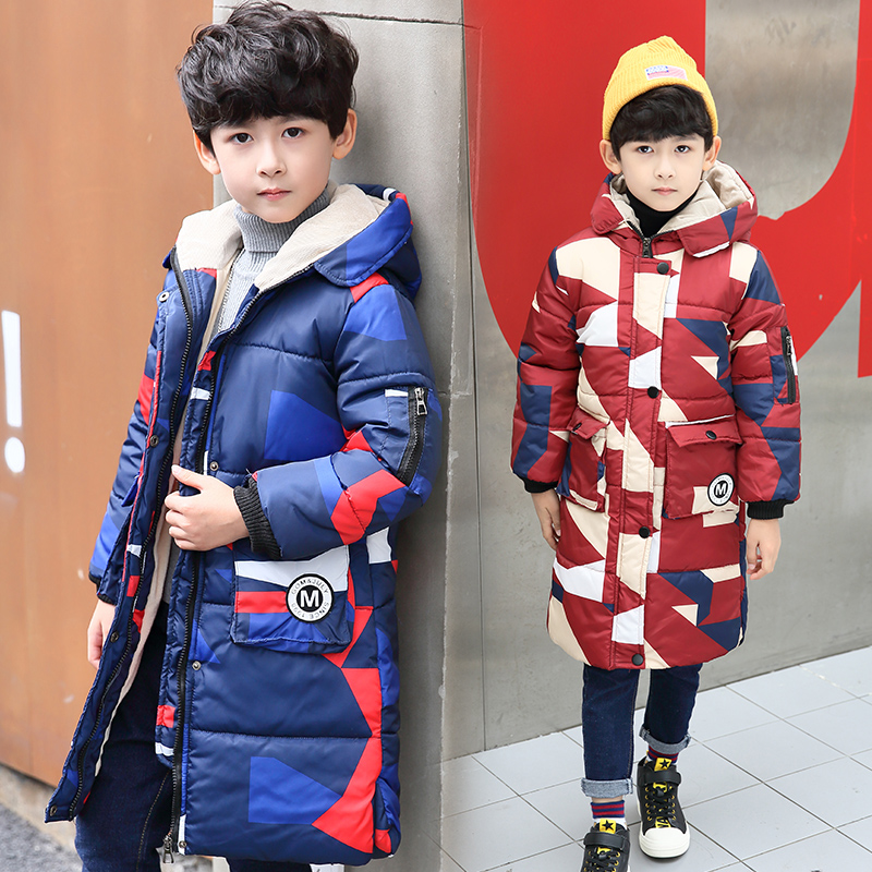 Children's winter jackets for boys long style padded children clothing 2017 Big boys Warm Coat Thickening Outerwear