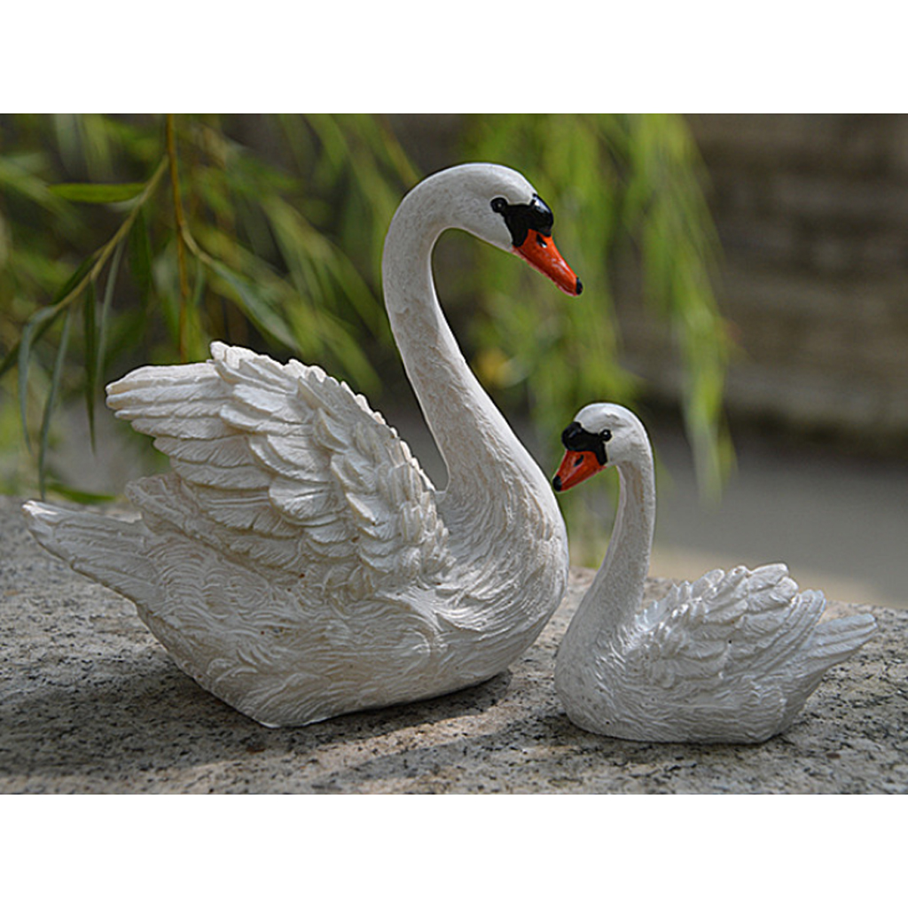 2pcs Resin Swans Model Miniature Animal Model Sculpture For Home Fairy Garden Lawn Decoration DIY Craft Display