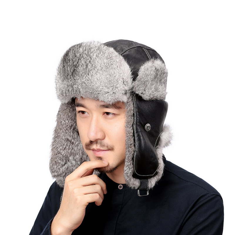 bb20a8b5a9fcd Valpeak Winter Bomber Hats Real Natural Rabbit Fur Hat Russian Ushanka Men    Women Warm Leather Trapper Aviator Hat Earflaps-in Bomber Hats from  Apparel ...