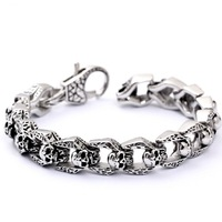 DL Stainless steel skull men's punk bracelet New European and American vintage personality S152
