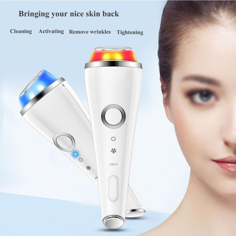 Portable Hot Cold Hammer Massager Photon Therapy Machine Vibration Facial Massage Acne Wrinkle Remover Face Eye Lifting high end mini vibration anti wrinkle ultrasonic massage eye wrinkles led light acne wrinkle remover face lifting beauty machine
