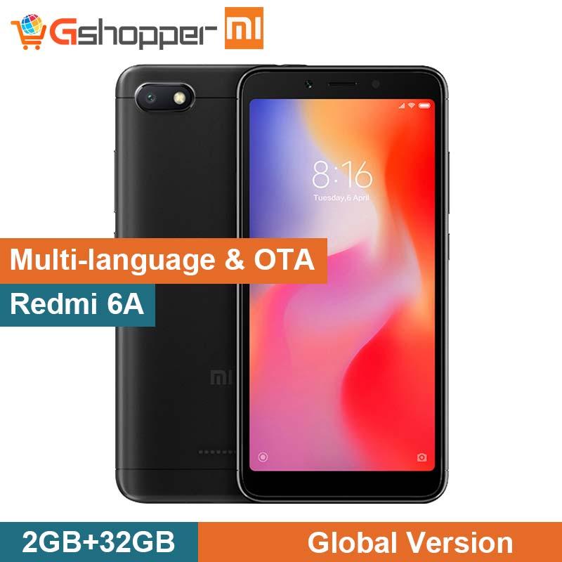 Mondial version Xiaomi Redmi 6A 6 Un 2 GB RAM 32 GB ROM A22 Téléphone 13.0 MP + 5.0MP 3000 mAh 5.45 pouces 1440*720 téléphone portable