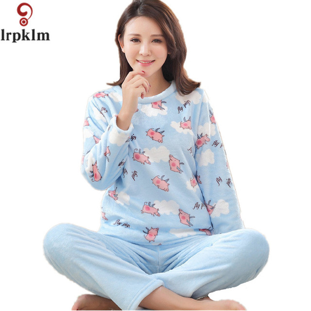 Winter Brand Flannel Pajamas Sets Women s Nightgowns Femininas Warm Night  Clothes For Woman Two Pieces Pajama Set XXL SY242 418932c23
