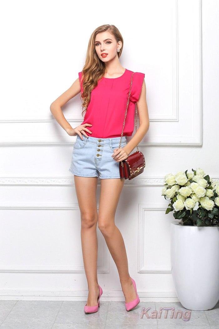 HTB16F6SGFXXXXXSXVXXq6xXFXXXk - Short Butterfly Sleeve Women Blouses Clothing Casual Chiffon Shirt