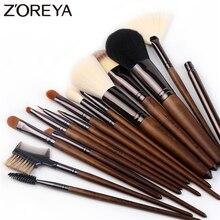ZOREYA 15pcs Walnut Makeup Brush Set Soft Synthetic Hair Makeup Brushes Powder Foundation font b Eye