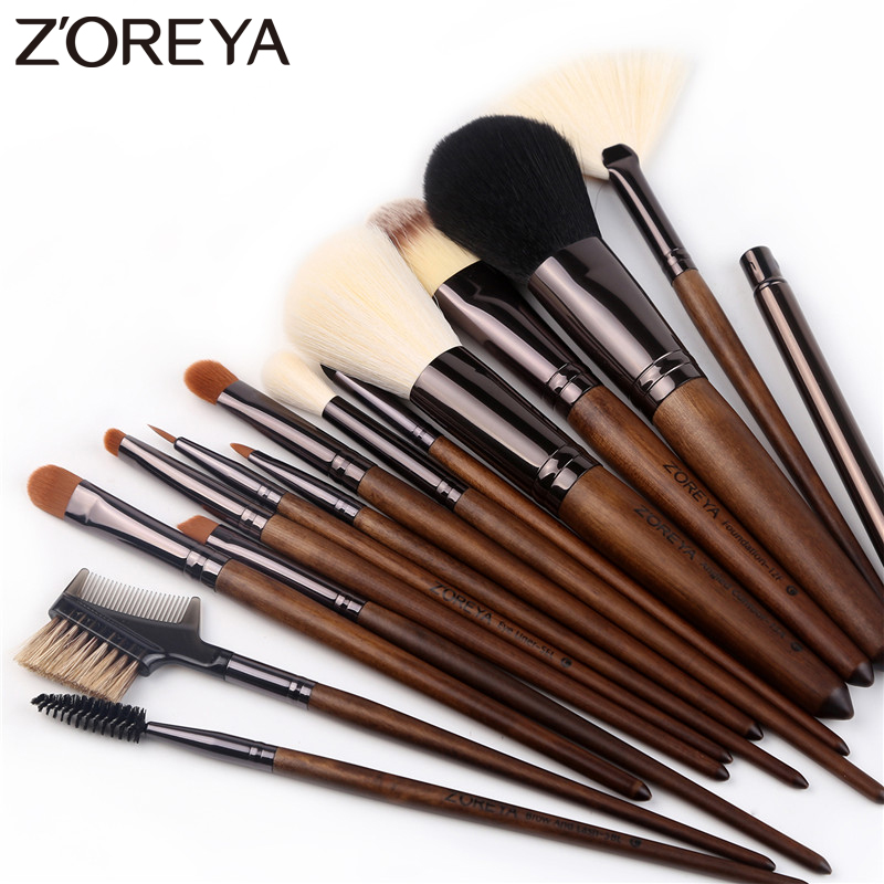 ZOREYA 15pcs Walnut Makeup Brush Set Soft Synthetic Hair Makeup Brushes Powder Foundation Eye Shadow Make Up Tools Essential Kit