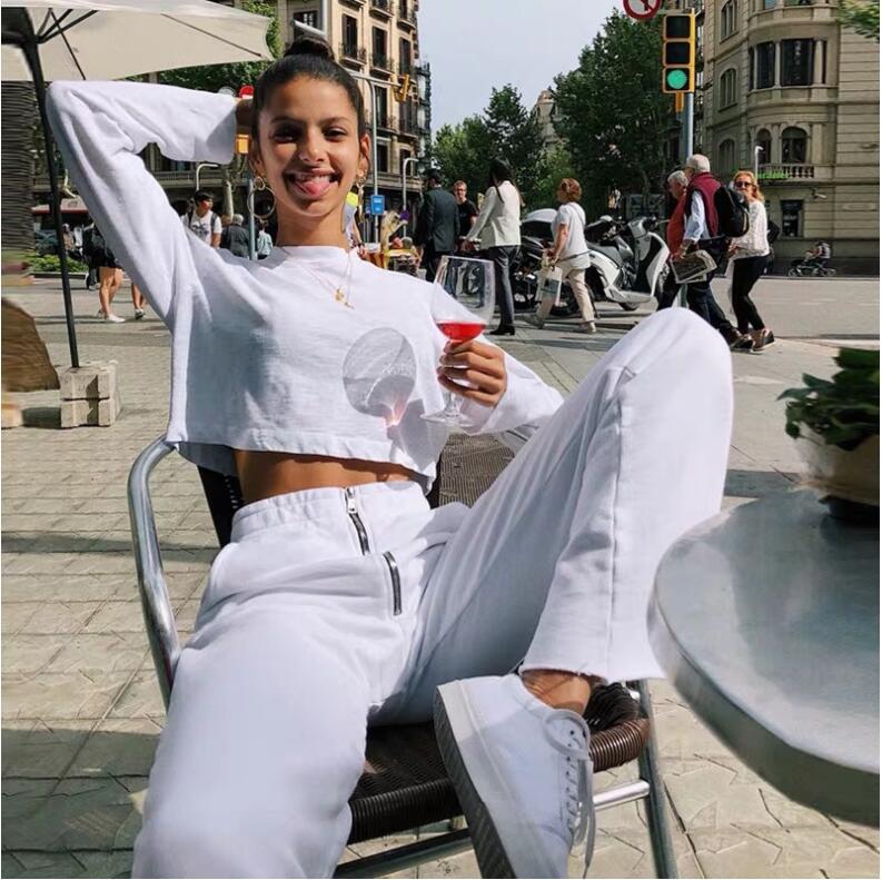 Casual Loose White Sweat   Pants     Capris   Korean Sweatpants Women Elastic High Waist Ladies Trousers Zipper Pockets Party