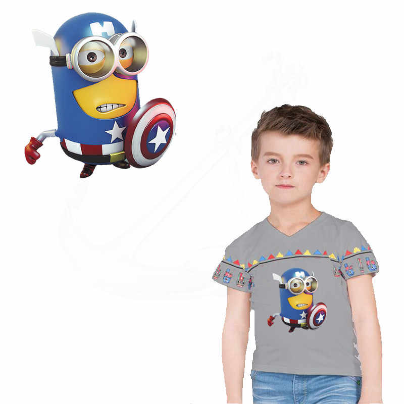 2ac04fc3f1444 Hot Captain America Cartoon Minions Patch for clothing 23.2*21.3cm iron on  patches Diy T-shirt Dresses thermal transfer sticker