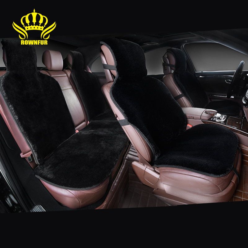 ROWNFUR 100 Natural fur Australian sheepskin car seat covers universal size for black seat cover accessories