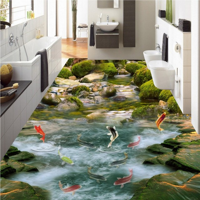 Free Shipping 3D Small River Water Carp Natural Landscape Floor Texture  Waterproof Living Room Bathroom Study