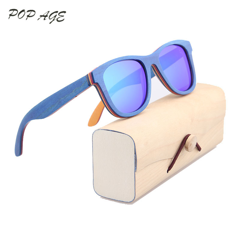 Blue Wood font b Sunglasses b font Polarized Lenses Colored Wooden Sun Glasses for Women Brand