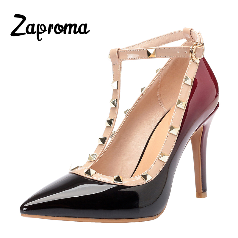 Sapato Femino ZAPROMA Woman Pumps High Heels Casual Ladies Shoes Summer Sandals Party Rivet T-Strap Chaussers