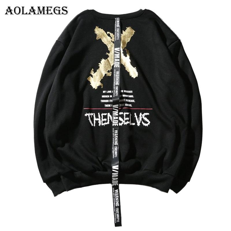 Aolamegs Hoodies Men X Print Ribbon Sweatshirts Pullover High Street Fashion Cotton Hip Hop Streetwear O-neck Hoodie Streetwear hoodie