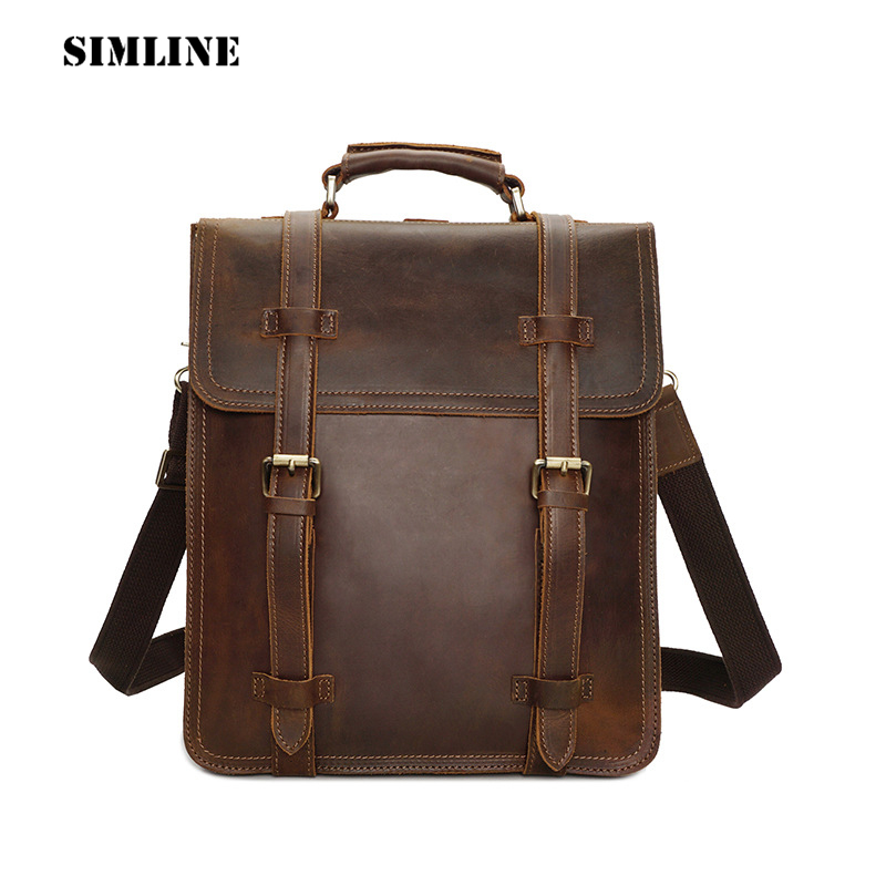 SIMLINE Vintage Casual Crazy Horse Genuine Leather Real Cowhide Men Men's Travel Backpack Backpacks Shoulder Bag Bags For Man simline vintage casual crazy horse genuine leather real cowhide men men s travel backpack backpacks shoulder bag bags for man