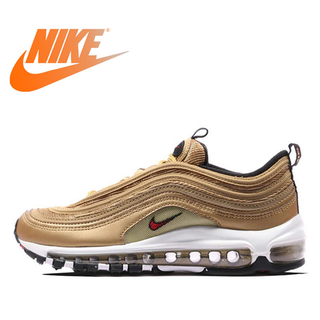 168bfffd75cd5 Original Authentic Nike Air Max 97 OG Gold and Silver Bullet Women's  Running Shoes Sport Outdoor Sneakers Massage Jogging