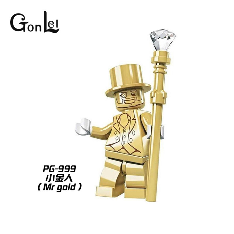 GonLeI Hot PG999 Mr Gold Single Sale Limited Edition Chrom Golden Collection Building Blocks Baby toys Christmas gift