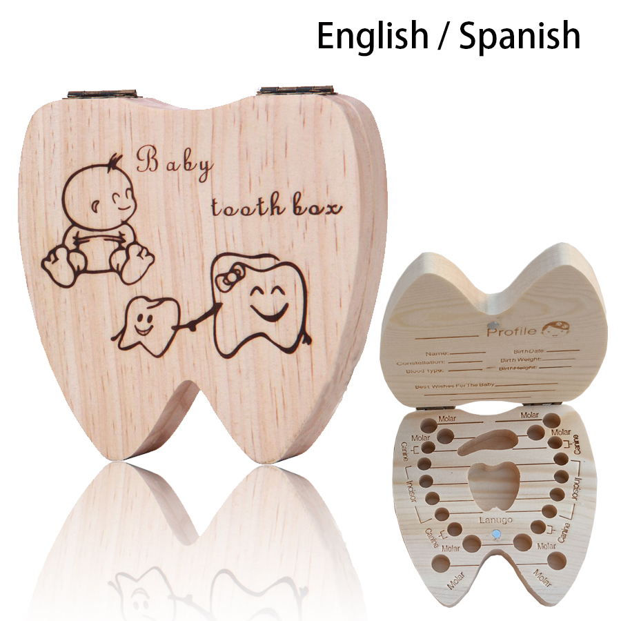 2019 New Spanish/English Baby Wood Tooth Box Umbilical Organizer Milk Teeth Storage Collect Teeth Baby Souvenirs Gift Keepsakes