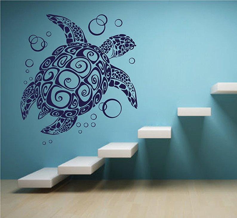 Zeeschildpad nl bubble vinyl muur applique marine leven stijl badkamer woonkamer decoratieve kunst muurschildering YS07