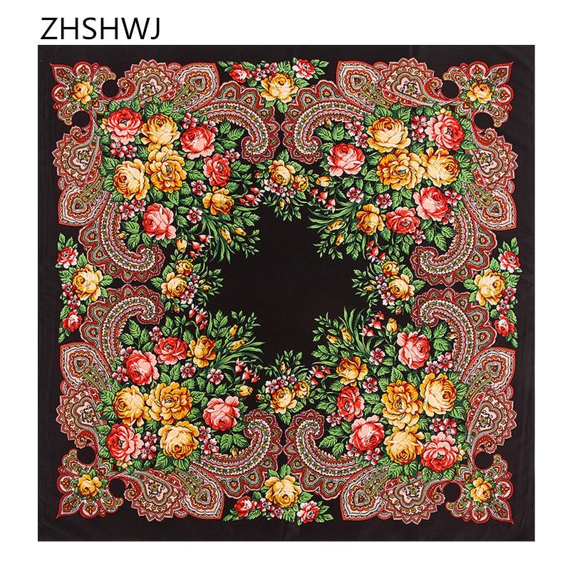 [ZHSHWJ]New 100% silk scarf bohemian tourist wind flower Muslim head Headband women scarf silk shawl decorated square scarf