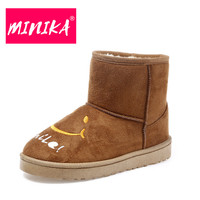 MINIKA Super Warm Ankle Boots For Women Slip On Plush Women Winter Boots Lovely Smile Face