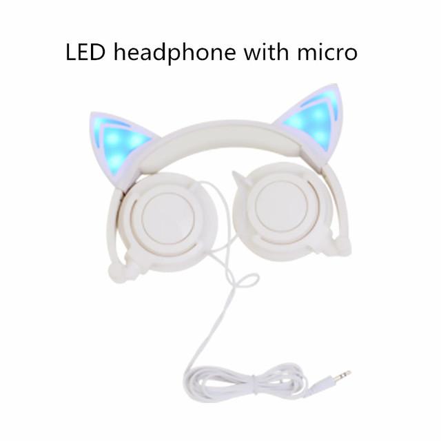 Plegable juegos de auriculares auriculares micrófono de luz led que brilla intensamente que destella del oído de gato gato del auricular para el iphone pc samsung