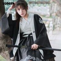 Japanese Girl Crane Embroidery Loose Long Sleeve HAORI Yukata Coat & Dress Kimono Women Cosplay Clothing