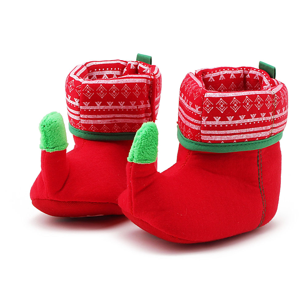 2018 New Arrival Christmas Design Baby Shoes Unique Warm Red And Green Color Baby Boots Wholesale Pure Cotton Boots