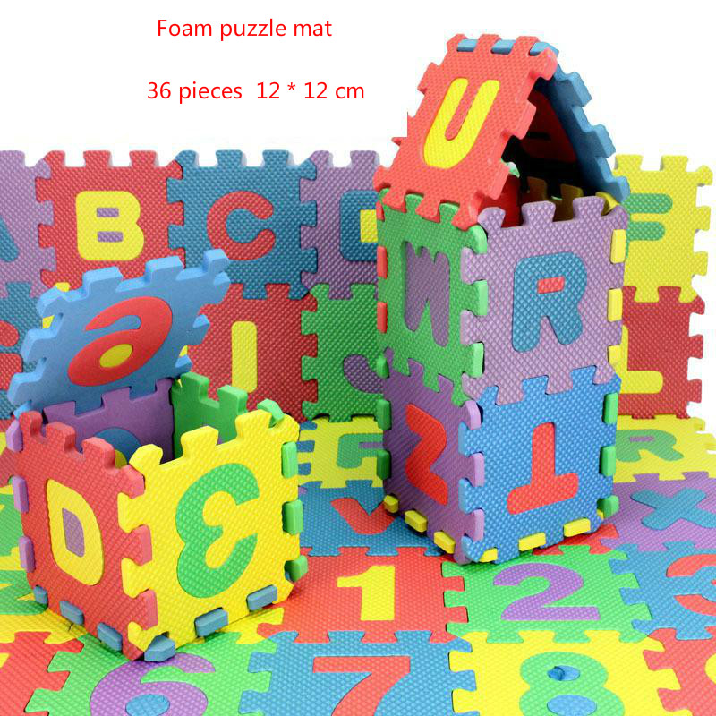 Children alphanumeric jigsaw puzzle toys foam mat 36 pieces per package Education Toys Building special preschool children tong yizhi world map flags inserted wooden jigsaw puzzle assembled three dimensional toys no
