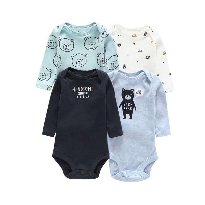 Детское боди с длинными рукавами для мальчиков, трико для девочек, одежда для новорожденных, коллекция года, осенний комплект унисекс для новорожденных, зимний хлопковый Модный комплект с круглым вырезом - Цвет: 4pcs set