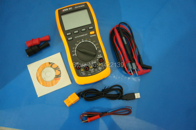 VICTOR 86C 3 3/4 Digital Multimeter frequency/temperature Autoranging , with USB Interface and Auto Power-off Function