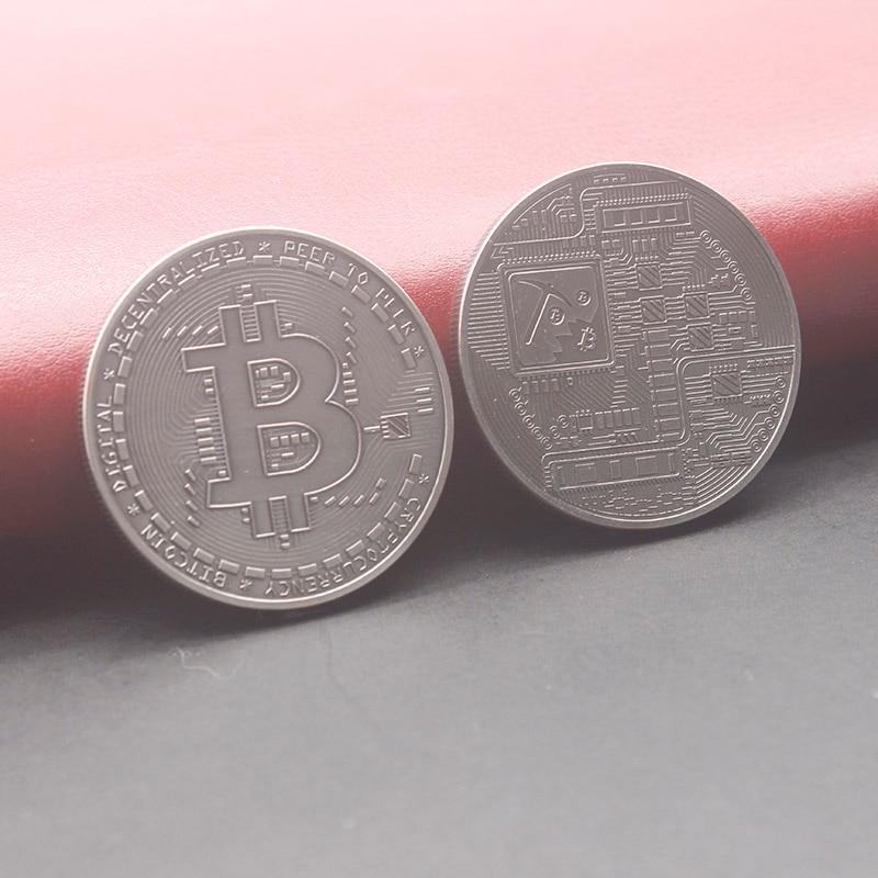 antique sliver color bitcoin coin