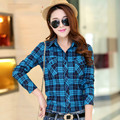 Hot Sale Autumn Winter Ladies Female Casual Cotton Long Sleeve Plaid Shirt Women Slim Outerwear Blouse Tops Blusas