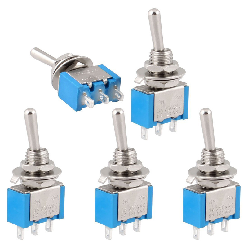 5Pcs ON-OFF 3 Pin 2 Position Mini Latching Toggle Switch AC 250V/3A 125V/6A SPDT Self Lock Toggle Switch --M25 new mini 5pcs lot 2 pin snap in on off position snap boat button switch 12v 110v 250v t1405 p0 5